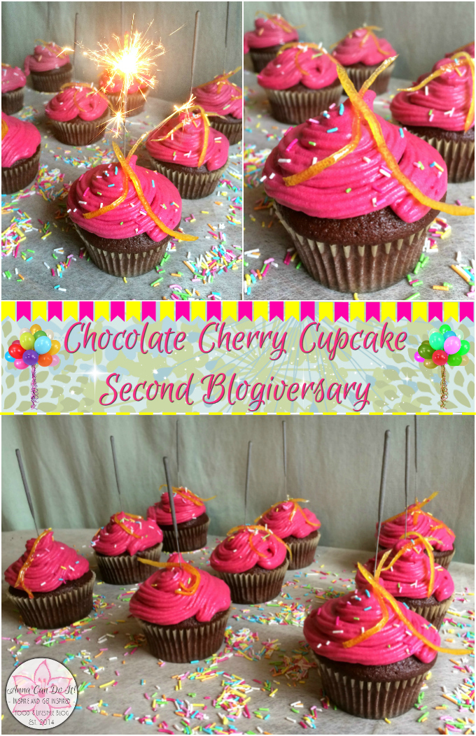 Chocolate Cherry Cupcake - Second Blogiversary - Anna Can Do It!