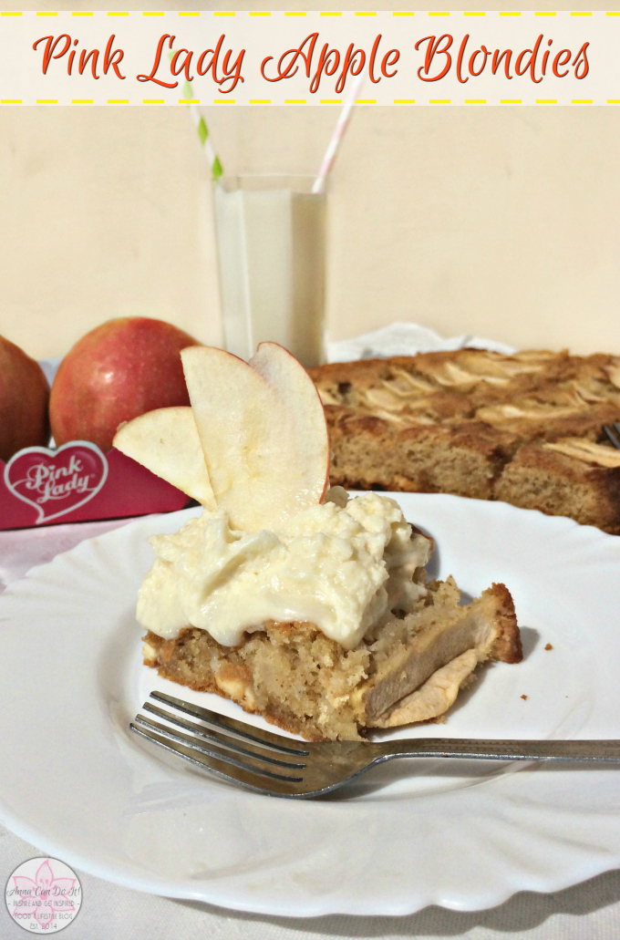 Pink Lady Apple Blondies - Anna Can Do It! * Moist and chewy white chocolate brownies with cinnamon and delectable sweet Pink Lady Apples, topped with white chocolate ganache. The Pink Lady Apple Blondies are so easy, amazingly delicious and fudgy inside; the sweet and tart Pink Lady Apples brings a refreshing taste and well complements the sweet white chocolate.