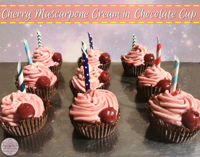 Cherry Mascarpone Cream in Chocolate Cup - Anna Can Do It! * Rich, sweet and tart cherry mascarpone cream in chocolate cup. Quick and easy dessert recipe which will enchant your guests!