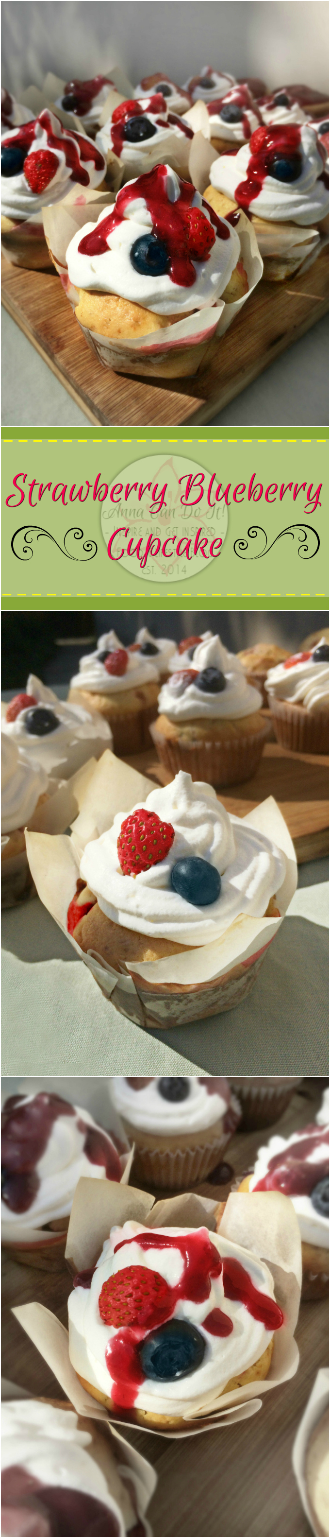 Strawberry Blueberry Cupcake - Anna Can Do It! * The Strawberry Blueberry Cupcake is the most divine, richest and most flavorful cupcakes I've ever made! It's seasonal, pure spring savor with blueberries and home grown strawberries, topped with whipped cream and strawberry blueberry sauce!