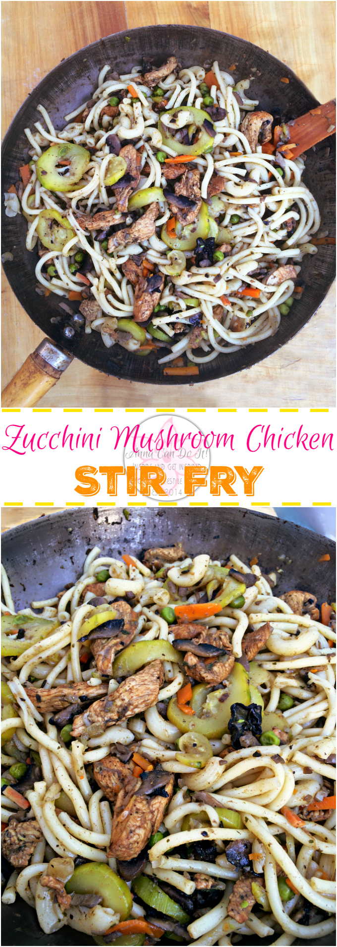 Zucchini Mushroom Chicken Stir Fry - Anna Can Do It! * Zucchini Mushroom Chicken Stir Fry is just perfect, full of veggies (zucchini, mushroom, carrot, pea and onion), spicy and very tasty! Quick and simple dinner and lunch recipe.