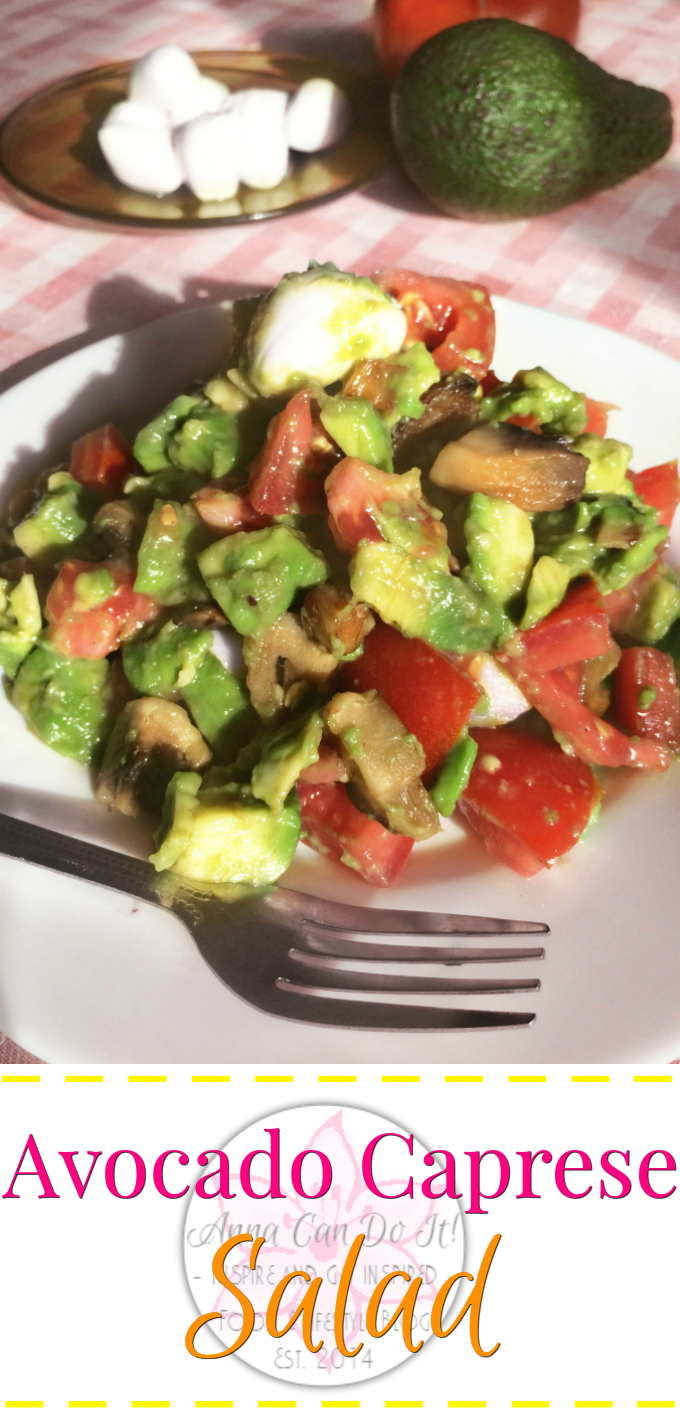 Avocado Caprese Salad - Anna Can Do It! * Quick, easy and healthy Avocado Caprese Salad with roasted mushroom, creamy avocado, fresh tomato and rich mozzarella. It's a perfect salad for breakfast, dinner or lunch, filling, yet light!