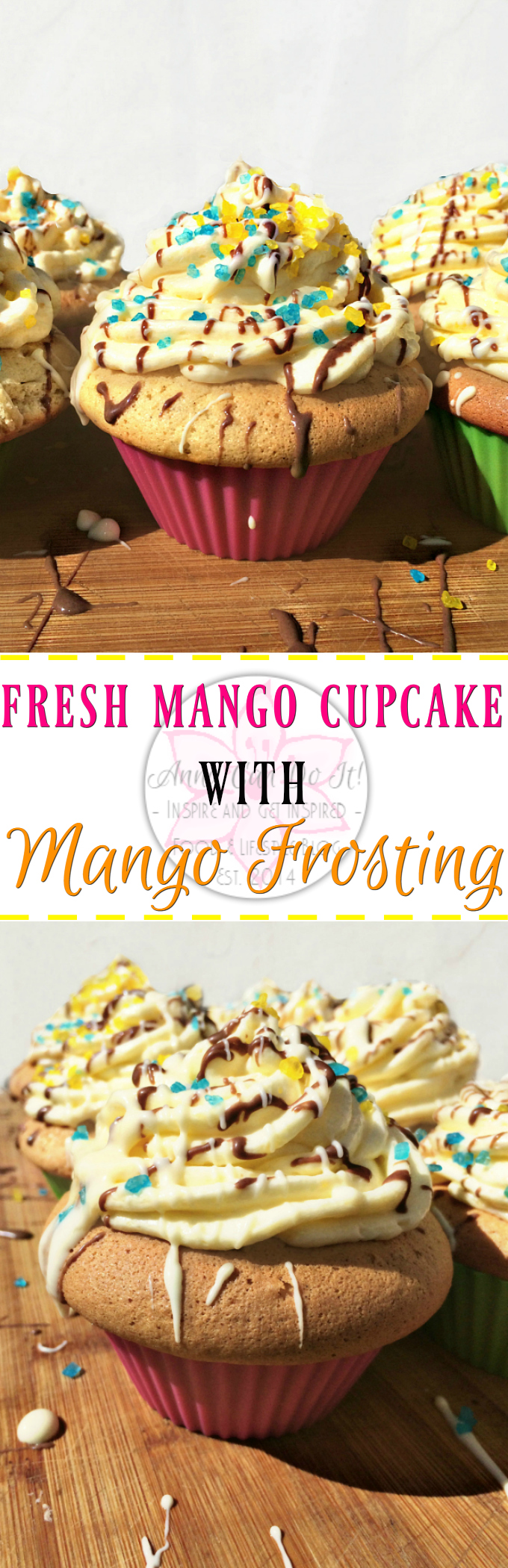 Fresh Mango Cupcake with Mango Frosting - Anna Can Do It! * Fresh Mango Cupcake with Mango Frosting is a rich vanilla cupcake with fresh mango pieces with luscious mango frosting. It's probably not my healthiest recipe, but believe me, worth to try it!