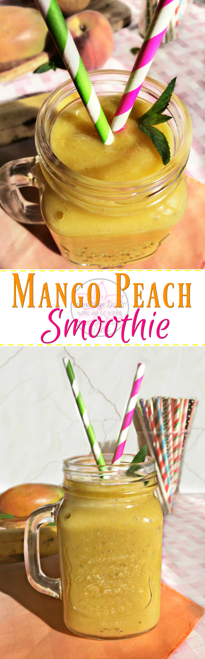Mango Peach Smoothie - Anna Can Do It! * Mango Peach Smoothie is so refreshing, naturally sweet and delicious; perfect kickstart of the day and instant sunshine for rainy days too!