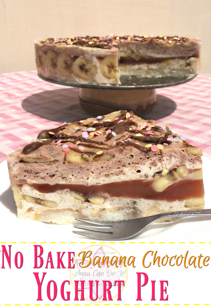 No Bake Banana Chocolate Yoghurt Pie - Anna Can Do It! - No Bake Banana Chocolate Yoghurt Pie is the perfect summer dessert! It's light, refeshing, just sweet enough with the combination of banana and chocolate.