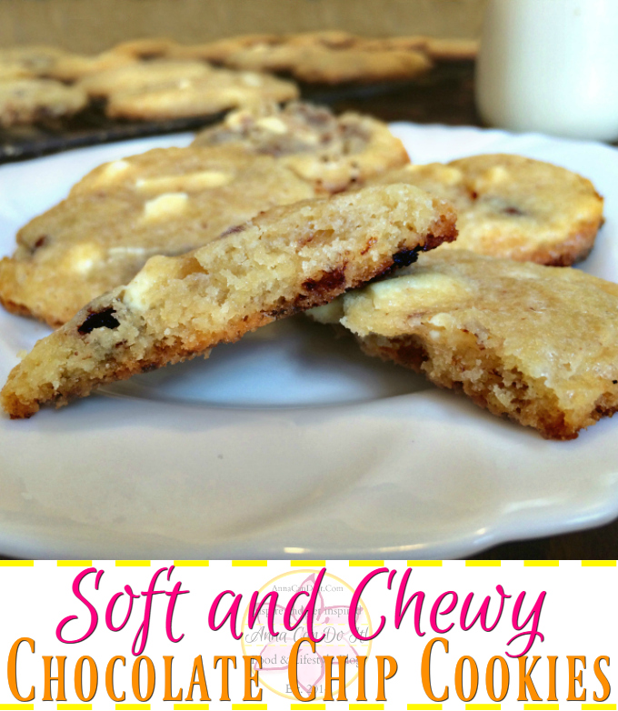 Soft and Chewy Chocolate Chip Cookies - Anna Can Do It! * These Soft and Chewy Chocolate Chip Cookies are causing serious addiction, made with white and dark chocolate. Perfect dessert or snack if you manage to make them without eating the entire bowl of dough!