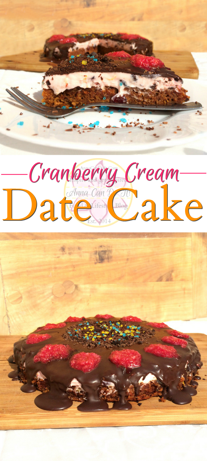 Cranberry Cream Date Cake - Anna Can Do It! - Moist and rich Cranberry Cream Date Cake with no added sugar and balanced with the dried cranberry mascarpone cream, topped with dripping chocolate and a few teaspoon of figs.