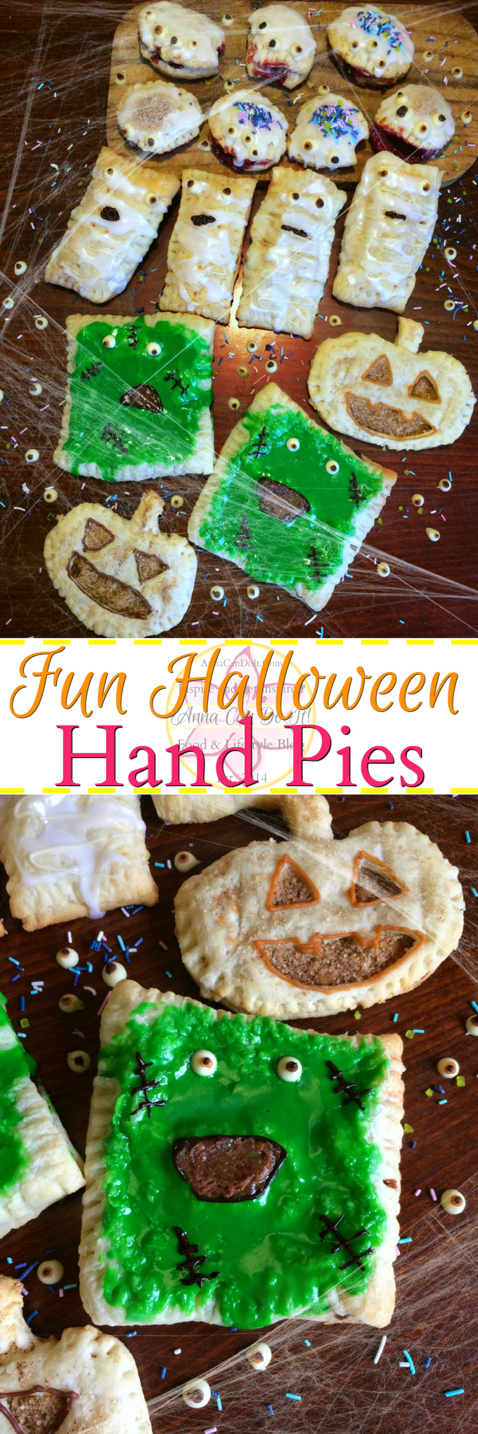 Fun Halloween Hand Pies - Anna Can Do It! - Fun Halloween Hand Pies are perfect Halloween desserts and they're kid friendly too! I made 3 different pie filling (pumpkin, jam and chocolate hazelnut spread + persimon) in 4 different shapes of hand pies.