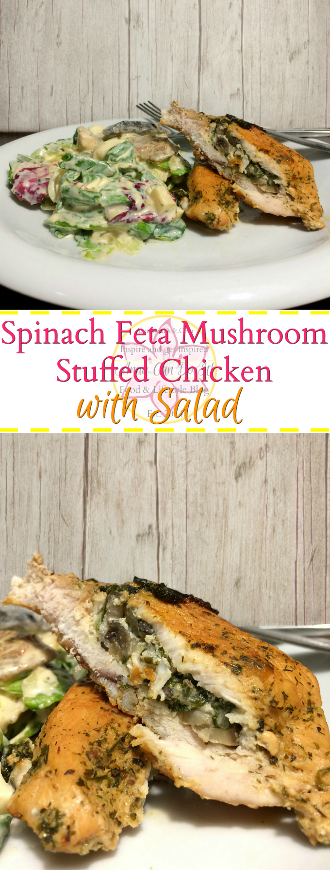 Spinach Feta Mushroom Stuffed Chicken with Salad - Anna Can Do It! - Spinach Feta Mushroom Stuffed Chicken with Salad is a simple and delicious yet healthier dinner recipe. The stuffed chicken itself is a great meal, but top it with this amazing salad, you'll have a true crowd pleaser!