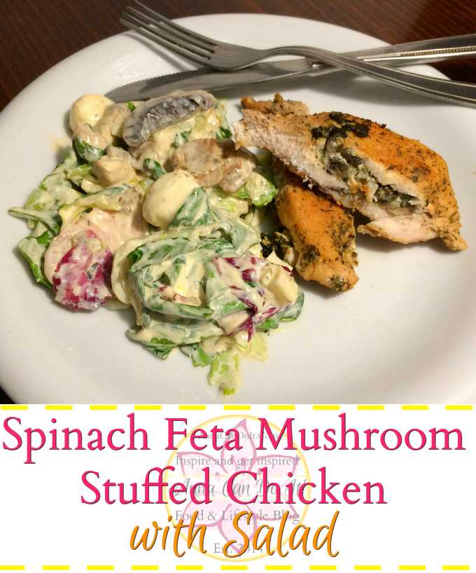 Spinach Feta Mushroom Stuffed Chicken With Salad
