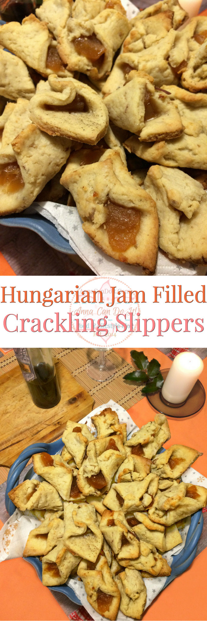 Hungarian Jam Filled Crackling Slippers - Anna Can Do It! - Hungarian Jam Filled Crackling Slippers are divine, friable little biscuits or cookies usually made around Christmas time. Every family has their own recipe and sometimes name for this in here and the countries around us. But one thing we have in common, these are taste wonderful for sure!